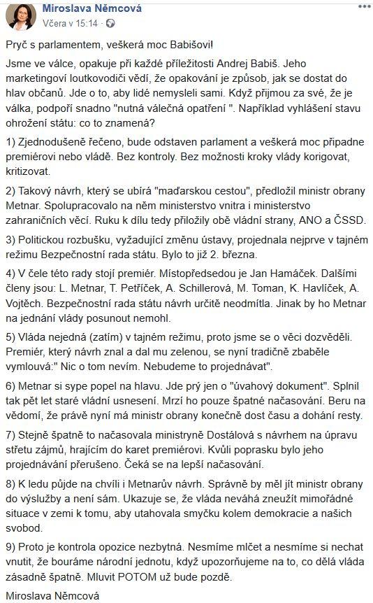 Miroslava Němcová udeřila na Babišovu vládu