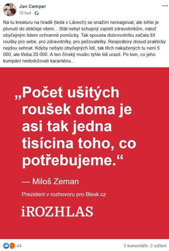 Jan Cemper zareagoval na slova Miloše Zemana
