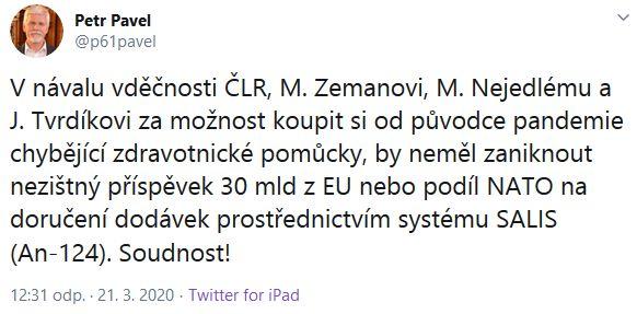 Nezapomínejte na NATO a EU, žádá Petr Pavel