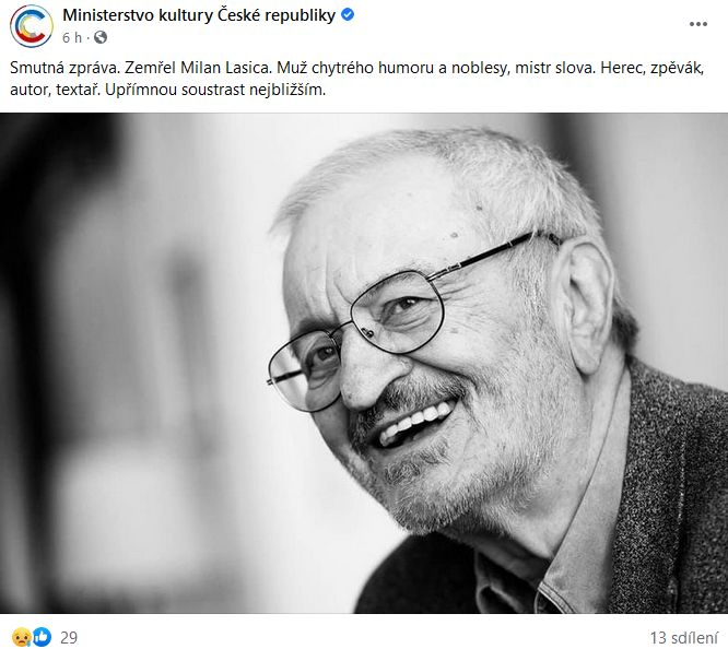 Zemřel Milan Lasica
