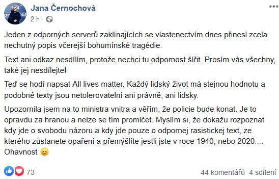 Jana Černochová si nebrala servítky
