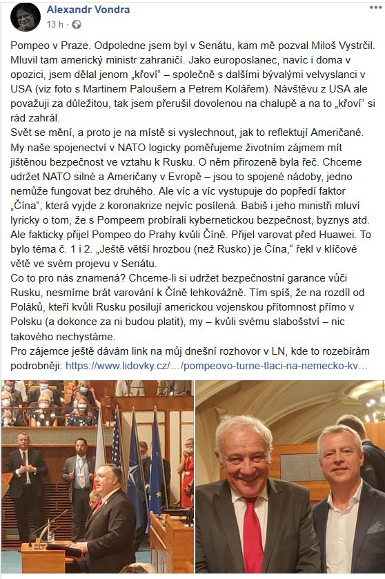 Alexandr Vondra promluvil o americké návštěvě v Senátu