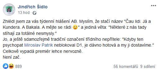 """Jindřich Šídlo shrnul Babišovo """"Čau lidi""""."""