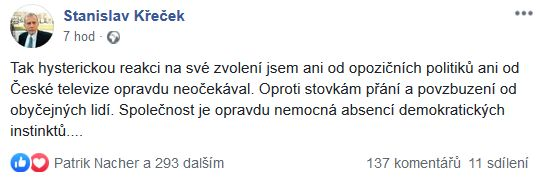 Stanislav Křeček o svém zvolení ombudsmanem
