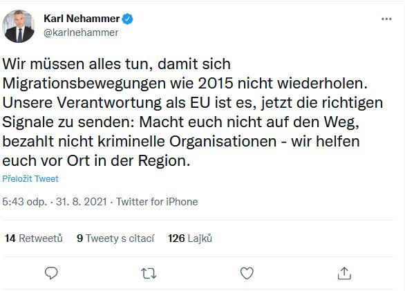 Rakouský ministr vnitra promlouvá