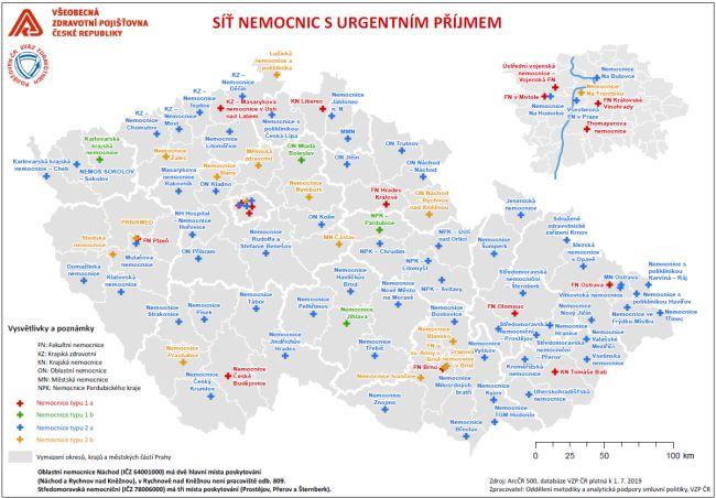 Mapa nemocnic s urgentními příjmy: