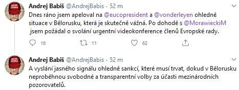 Andrej Babiš o Bělorusku