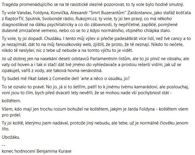 Pavel Novotný reaguje na Benjamina Kurase