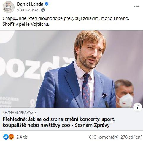 Daniel Landa se zlobí