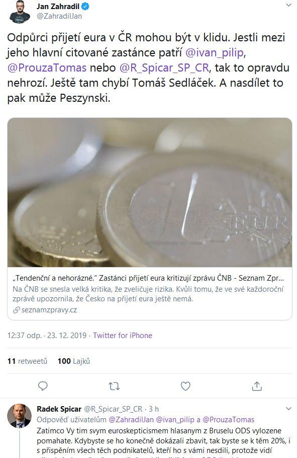 Radek Špicar a Jan Zahradil debatují