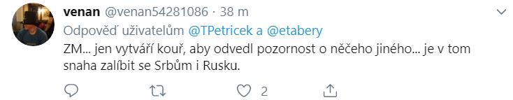 Uživatel Twitteru myslící si o výroku Zemana ke Kosovu, že pouze vytváří kouř
