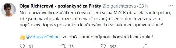 Olga Richterová chválí i kárá.