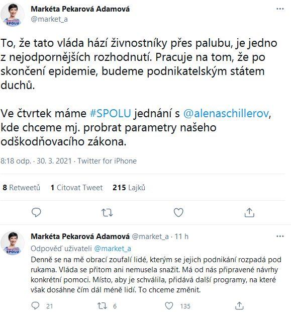 Markéta Pekarová Adamová chce nadále jednat o odškodňovacím zákonu