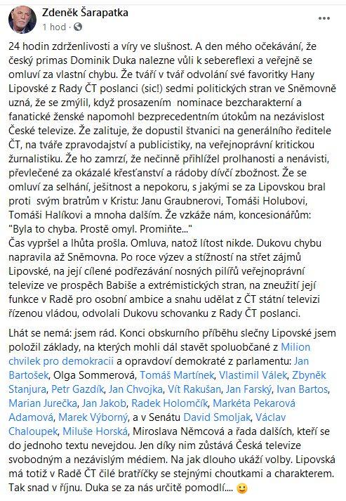 Šarapatka o Lipovské a kardinálu Dukovi