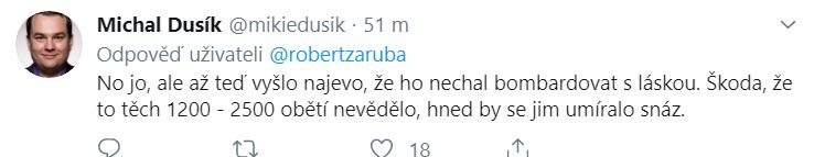 Sportovní komentátor reagující na tweet Roberta Záruby o Zemanovi