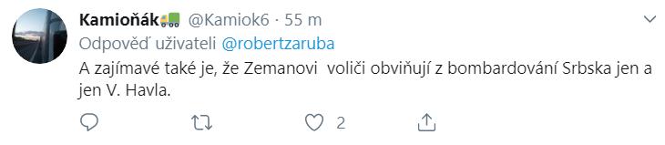 Uživatel Twitteru jemuž je divné, že fanoušci Zemana ukazují pouze na V. Havla