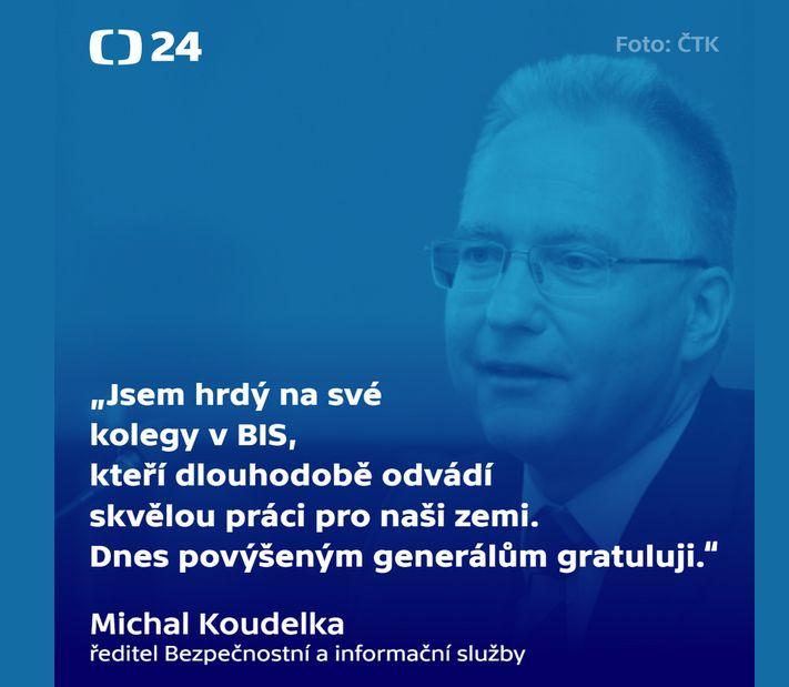 Michal Koudelka pogratuloval jmenovaným generálům
