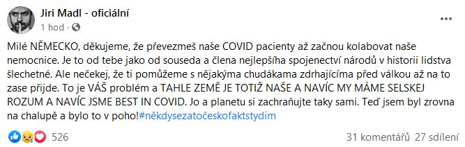 Jiří Mádl píše do Německa