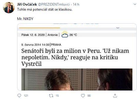 Šest let stará slova Miloše Vystrčila