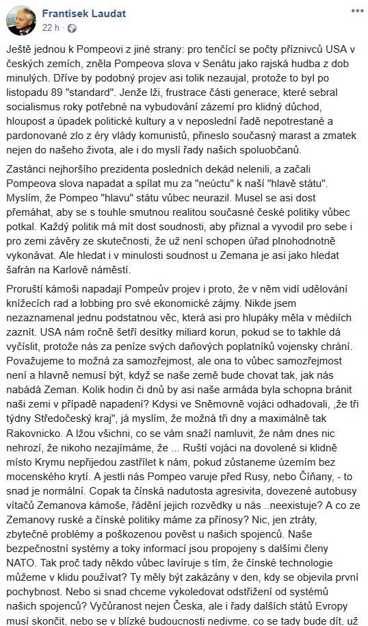 Franntišek Laudát o návštěvě amerického ministra zahraničí v Česku