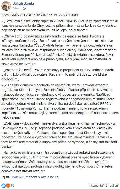 Jakub Janda cituje informace o údajném čínsko-českém tunelu