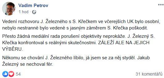 Vadim Petrov poslal vzkaz Jakubovi Železnému