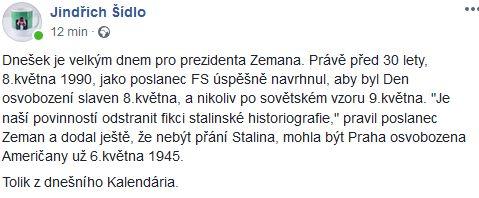 Komentátor Jindřich Šídlo připoměl slova Miloše Zemana