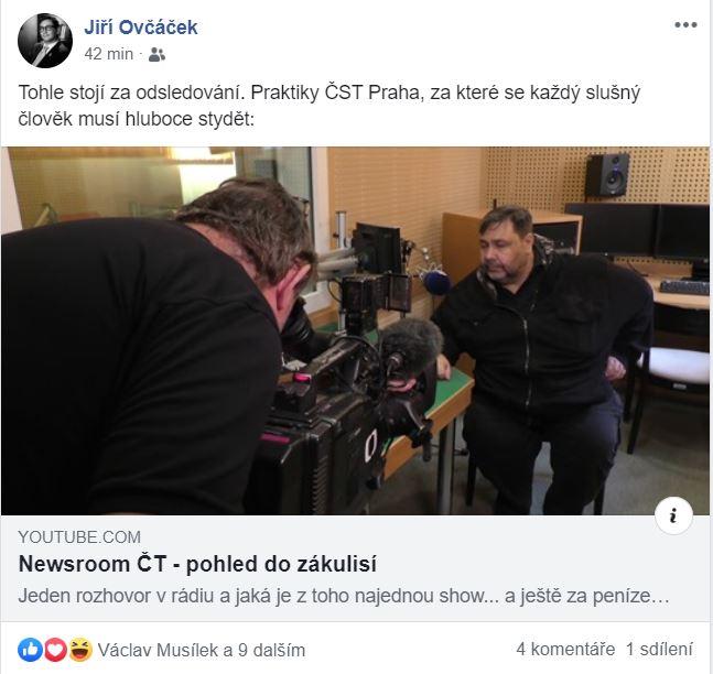 Mluvčí prezidenta Jiří Ovčáček sdílející odkaz na video Xavera