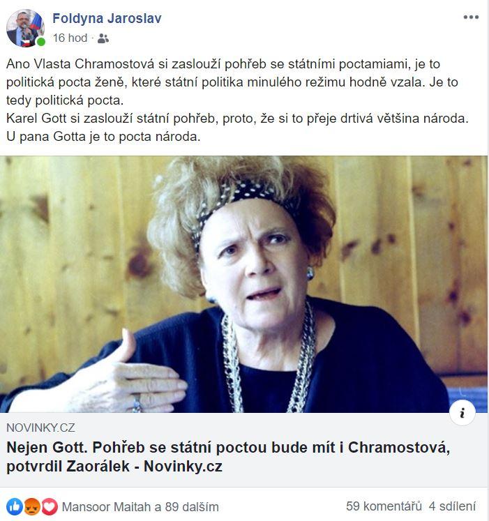 Jaroslav Foldyna komentující úmrtí Vlasty Chramostové