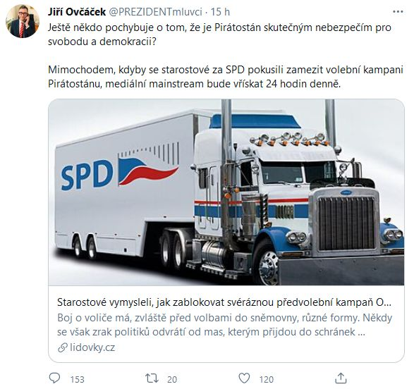 Jiří Ovčáček se zastal Tomia Okamury