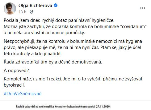 Olga Richteroá položila dotaz