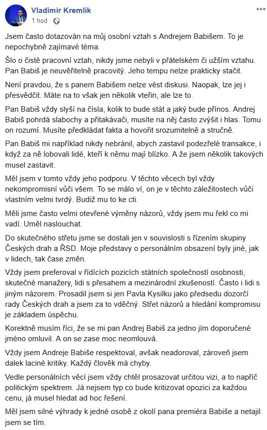 Vladimír Kremlík se rozepsal o Babišovi