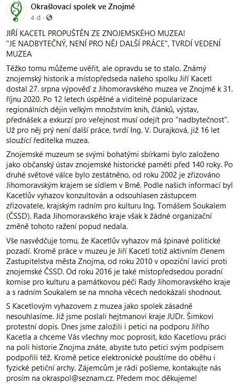 Jiřího Kacetla se zastal Okrašlovací spolek ve Znojmě