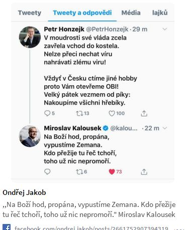 Báseň Petra Honzejka a Miroslava Kalouska o vládě a Miloši Zemanovi