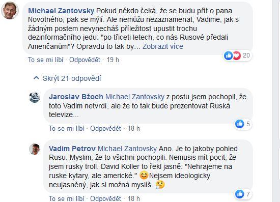 Reakce na vystoupení Pavla Novotného v ruské televizi