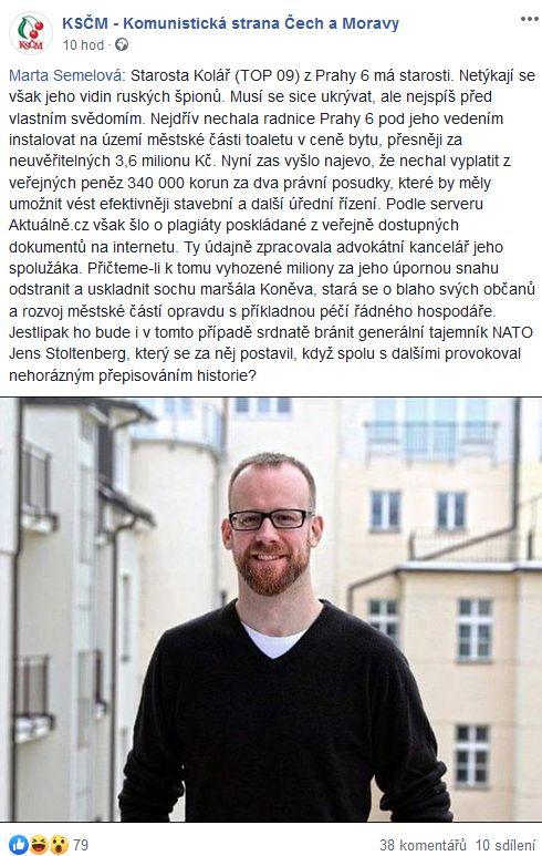 Komunistka Marta Semelová tepe starostu Koláře