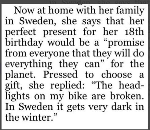 Greta thunbergová je plnoletá