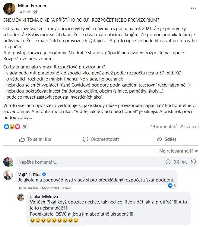 Milan Feranec se zlobí na opozici. Vojtěch Piksl vrací úder.