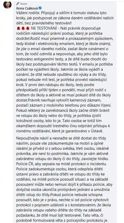 Ilona Csáková promlouvá
