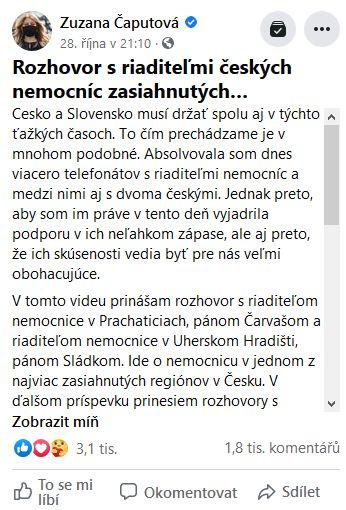 Slovenská prezidentka Zuzana Čaputová poděkovala českým lékařům.