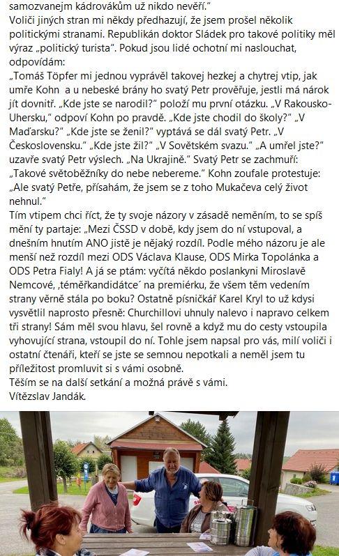 Vítězslav Jandák promlouvá
