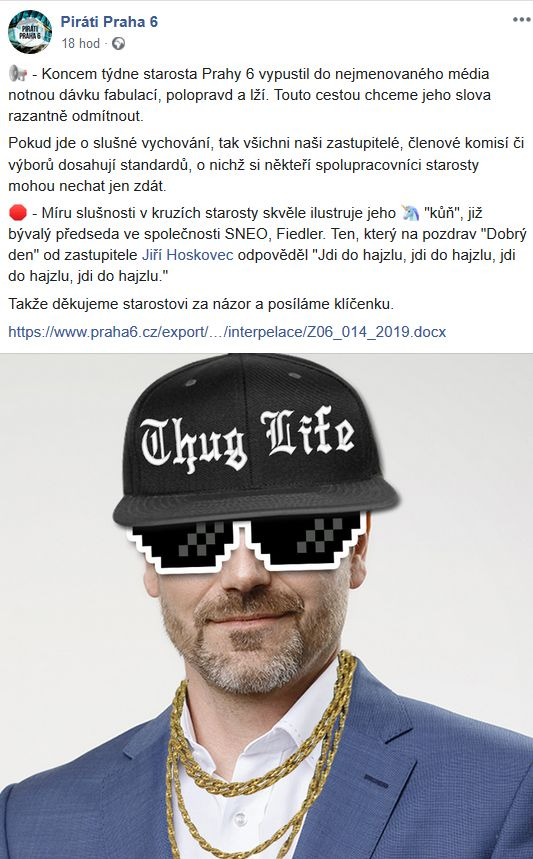 Piráti z Prahy 6 poslali vzkaz starostovi Kolářovi