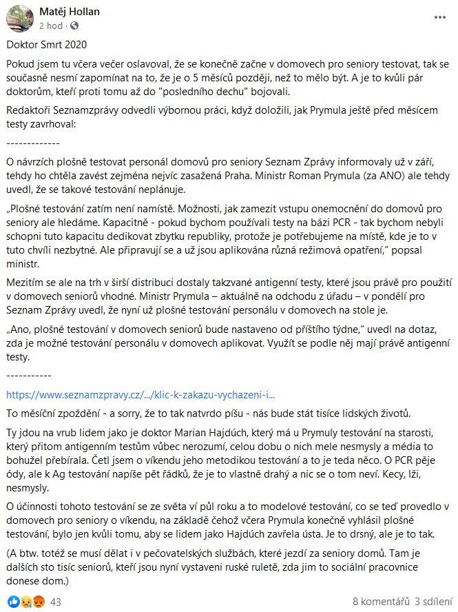 "Matěj Hollan o ""Doktorovi Smrt"""