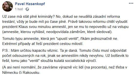 Pavel Hasenkopf o amnestii