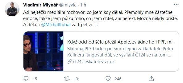 Vladfimír Mlynář o Petru Kellnerovi