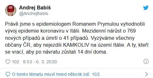 Andrej Babiš se obrátil na své spoluobčany. Kvůli koronaviru