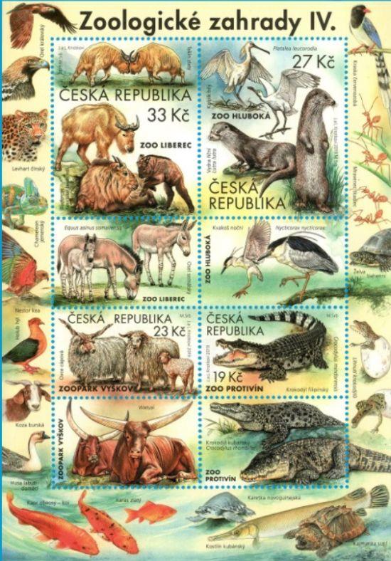 Poštovní aršík Ochrana přírody: Zoologické zahrady IV