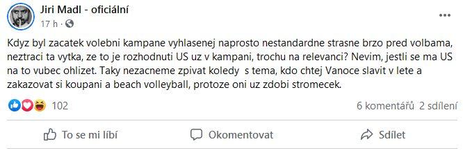 Jiří Mádl promluvil k volebnímu zákonu