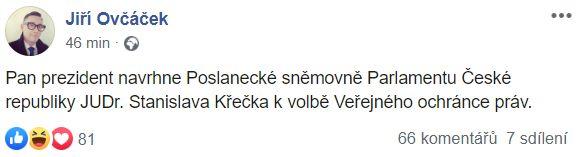 Jiří Ovčáček informuje