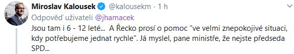 Miroslav Kalousek reaguje na Jana Hamáčka